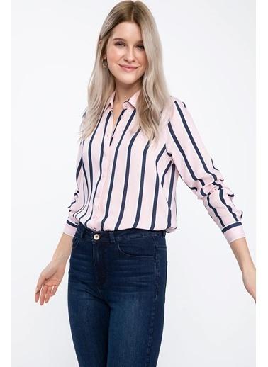 DeFacto Uzun Kollu Çizgili Gömlek Pembe